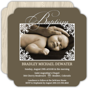 Brown Elegant Frame Photo Baptism Invitation
