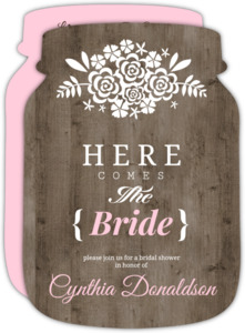 Brown and Pink Wood and Flower Bouquet Bridal Shower Invite