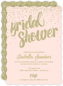 Bridal shower invitations beautiful custom wedding stationery peach and gold glitter bridal shower invitation filmwisefo