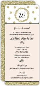 Gold Glitter Monogram Bridal Shower Invitation