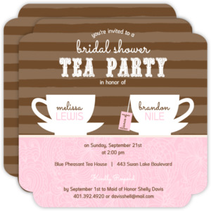 Striped Tea Cups Bridal Shower Invitation