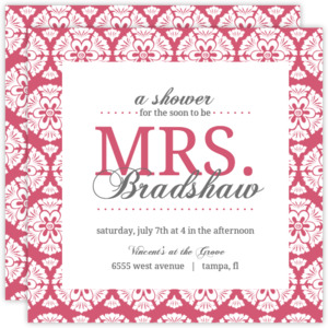 Damask Bridal Shower Invite