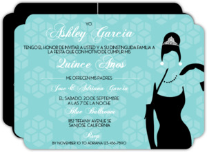 White Tiffany Blue Quinceanera Invitaion