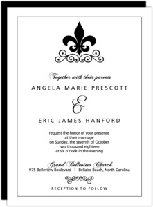 Black And White Fleur De Lis Wedding Invite