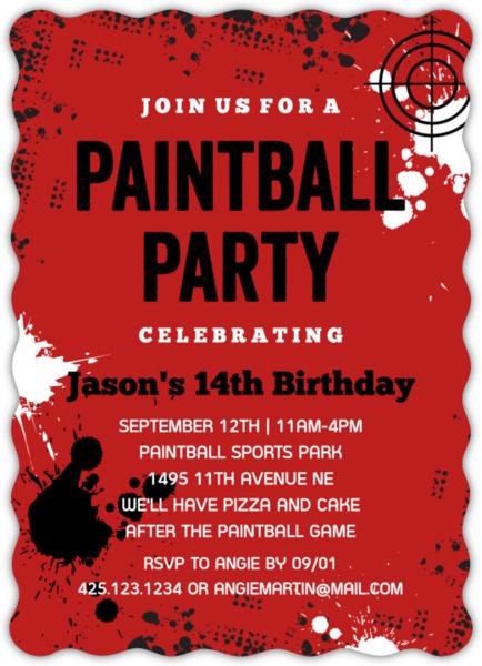 Paintball Splatter Birthday Party Invitation