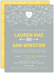 Gray and Yellow Faceted Geometric Pattern Wedding Invitation