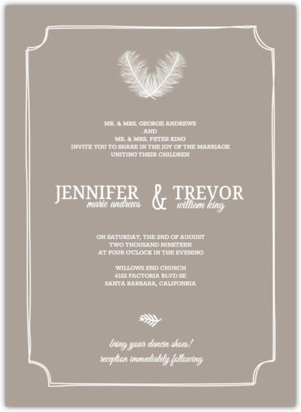 Taupe And Peach Feather Wedding Invitation Rustic Wedding Invitations