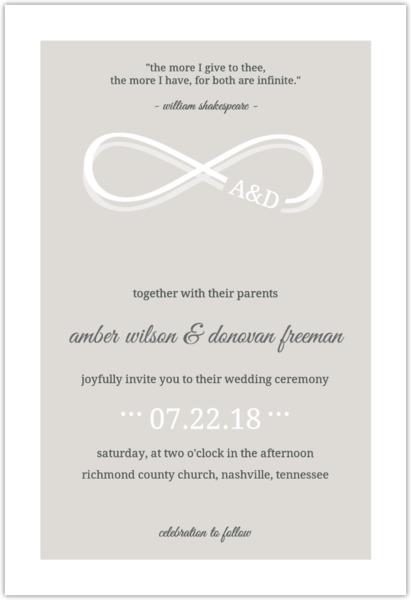 Champagne Infinity Monogram Wedding Invitation