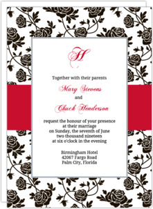 Romantic Roses Black and Red  Wedding Invitation