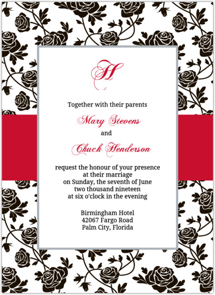 Romantic Roses Black And Red Wedding Invitation Elegant Wedding