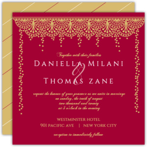 Gold and Red Patterned Wedding Invitation