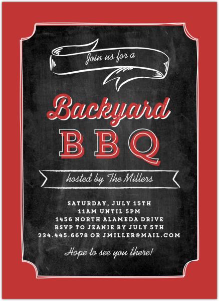 chalkboard backyard bbq party invitation bbq invitations