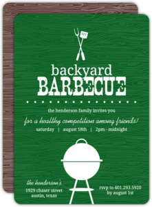 Green Backyard Woodgrain Bbq Invite