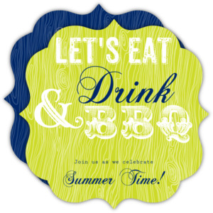 Green and Navy Eat Drink Modern BBQ Party Invitation