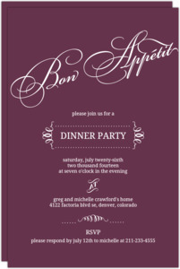 Plum Bon Appetit Dinner Invitation