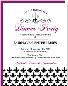 Black and Purple Fleur De Lis Dinner Party Invitation