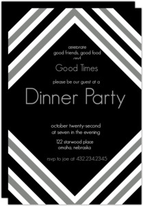 Modern Black And White Dinner Party Invite
