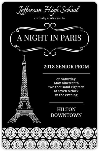 Black and white paris prom invitation prom invitations black and white parisian prom invitation stopboris Image collections