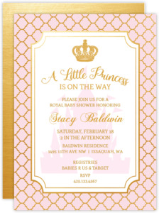 Little Princess Quatrefoil Pattern Baby Shower Invitation
