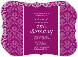 Magenta Texture 75th Birthday Invitation