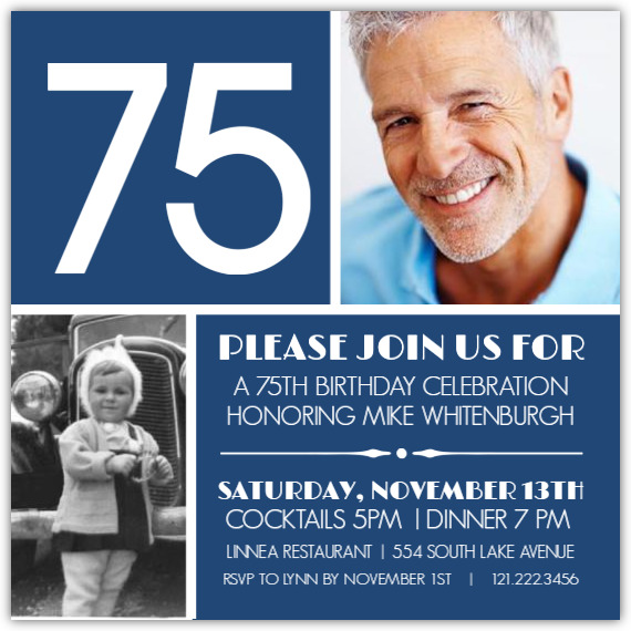 Bold 75th Birthday Personalized Invites - Choice of 6 Colors