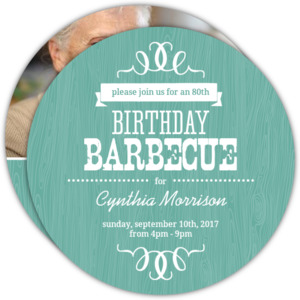 Turquoise Western Woodgrain 80th Birthday Invitation