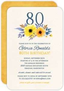 Elegant Yellow Floral 80th Birthday Invitation