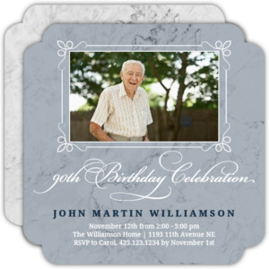 Slate Marble 90th Birthday Invitation