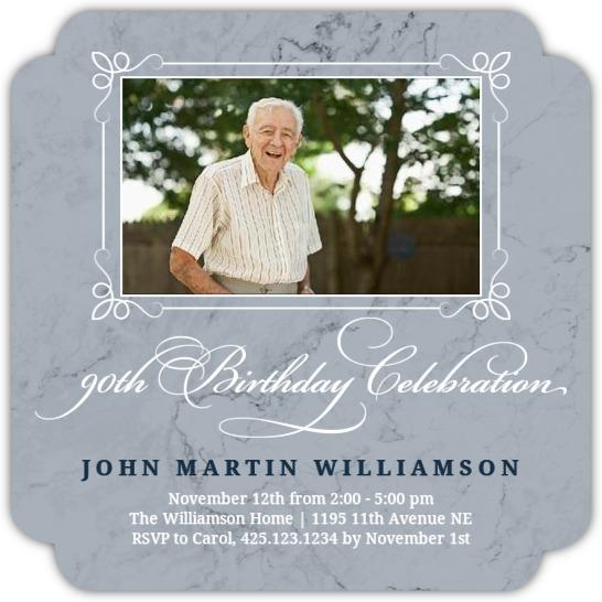 Slate Marble 90th Birthday Invitation