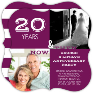 Modern Squares Now and Then 20th Anniversary Invitation