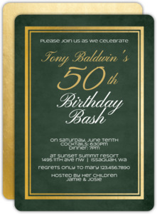 Chalkboard Gold Frame 50th Birthday Invitation