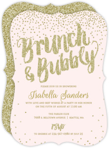 Simple bridal shower invitations brunch bubbly gold glitter bridal shower invitation filmwisefo