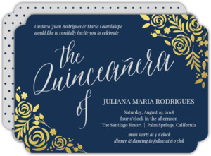 Cabernet Gold Foil Floral Quinceanera Invitation