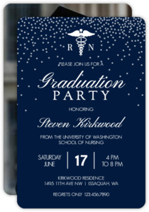 White Confetti Nursing School Graduation Invitation