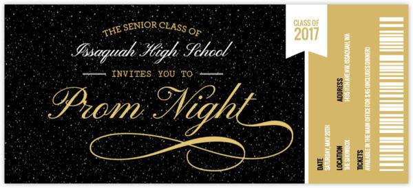 Prom Ticket Stub Prom Invitation Prom Invitations