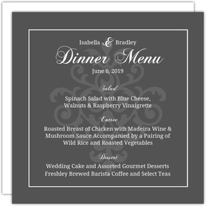 Gray and Elegant White Flourish Menu Card