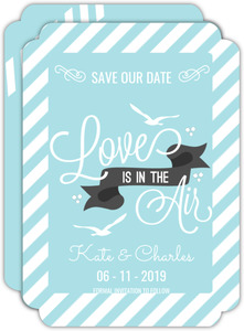 Soft Blue Stripes Photo Save The Date Announcement