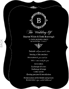 Black Floral Monogram Wedding Program