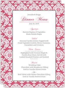 Papaya and White Floral Pattern Menu Card
