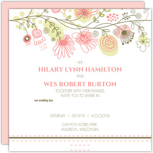 Spring Floral Border Wedding Invitation