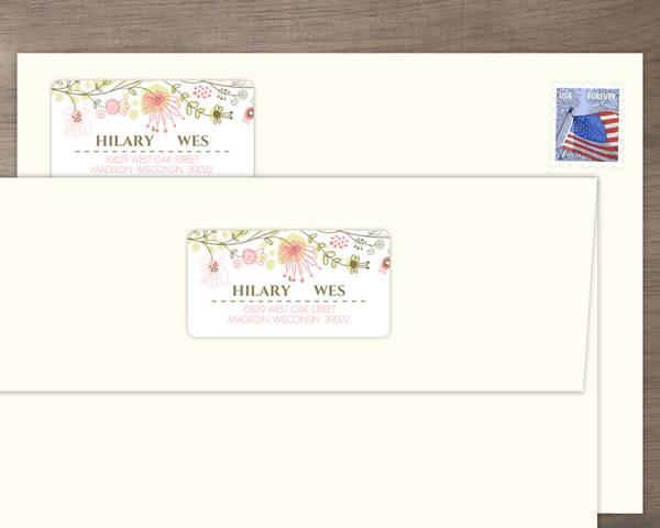spring floral border address label wedding address labels