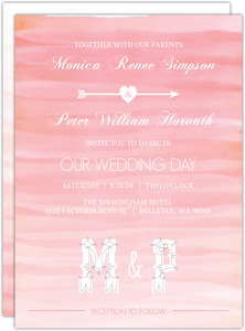 Monogram Pink Watercolor Ombre