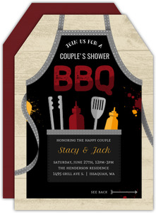 Cute Black Apron BBQ Couples Shower Invitation