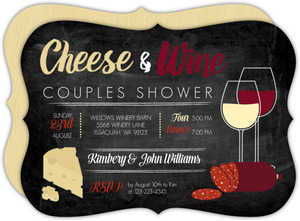 Rustic Cheese & Wine Couples Shower Invitation