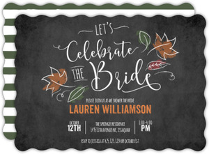 Chalkboard Leaves Bridal Shower Invitation