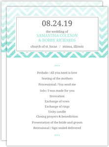 Chevron Turquoise Ombre Wedding Program