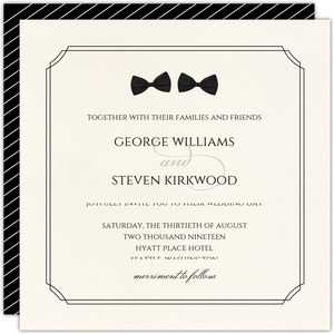 Double Bow Tie Gay Wedding Invite