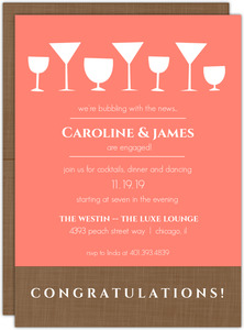 Bright Coral Cocktail Engagegement Party Invite