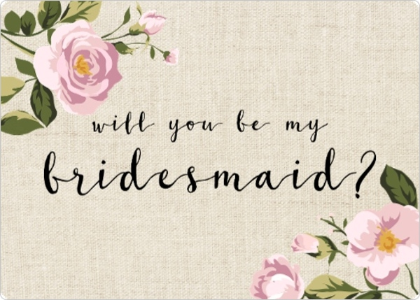soft pink flowers will you be my bridesmaid card will you be my