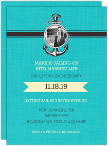 Blue Sailing Bachelor Party Invite